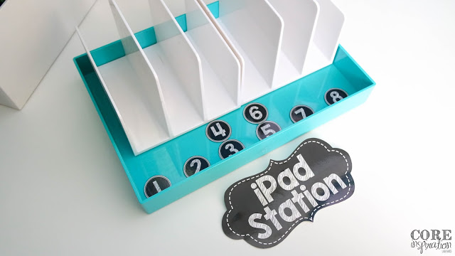 This iPad Station uses an aqua tray and white letter organizer to keep iPads safe and organized.