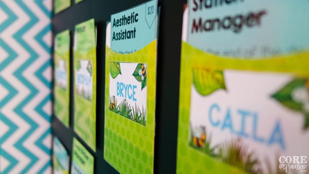 Core Inspiration Classroom Job Board Display