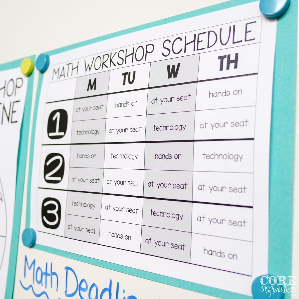 Core Inspiration Math Workshop Schedule