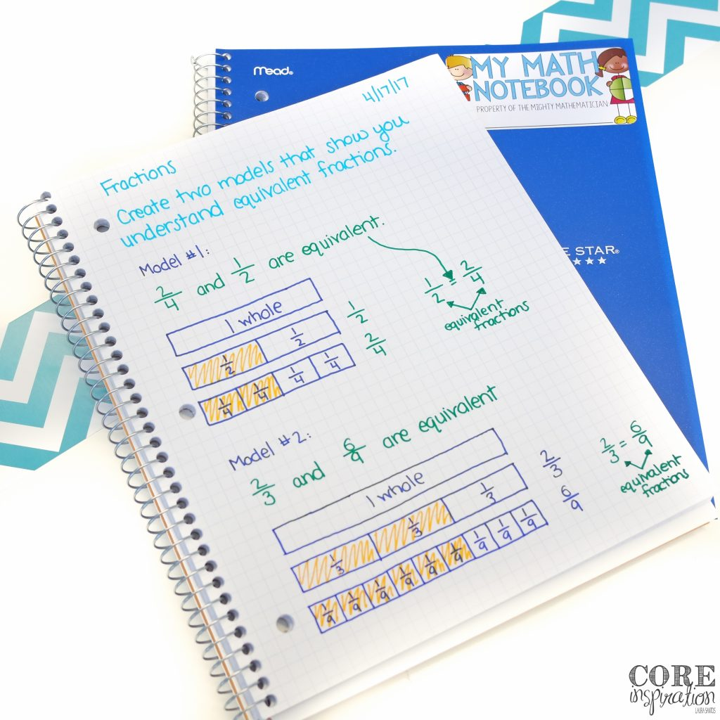 Core Inspiration Math Journal Prompt Example for third grade