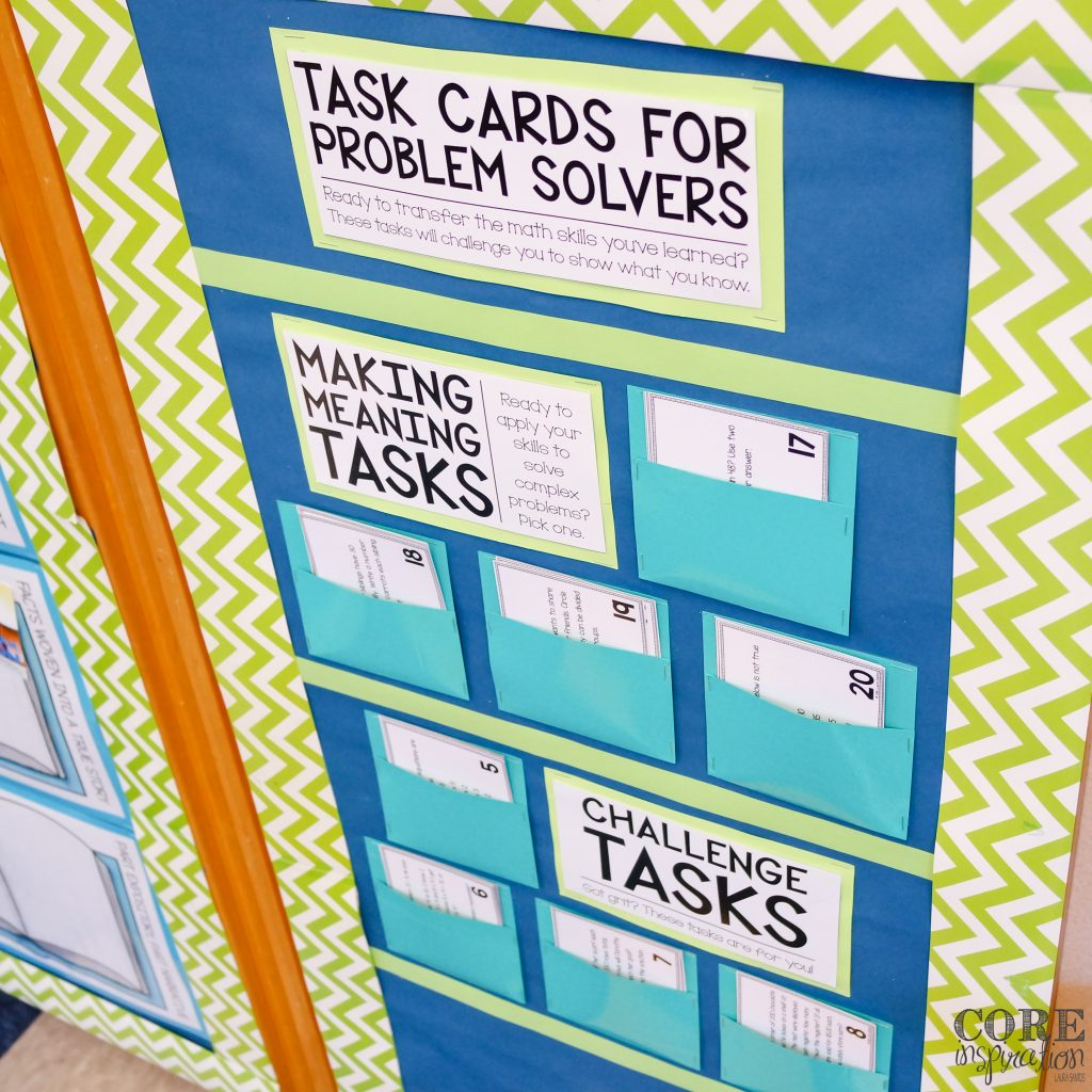 Core Inspiration Problem Solving Task Card Display Board