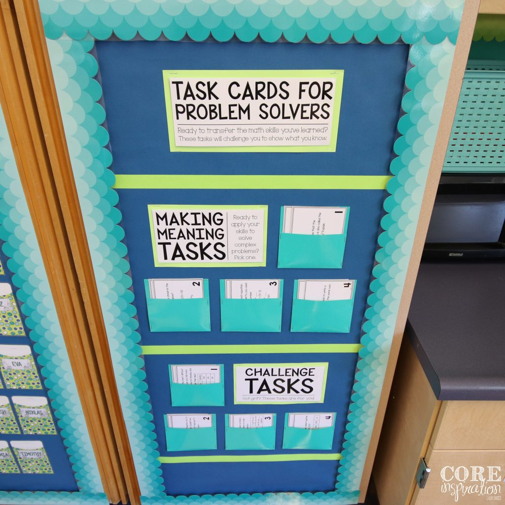 Core Inspiration Third Grade Math Workshop Task Card Board