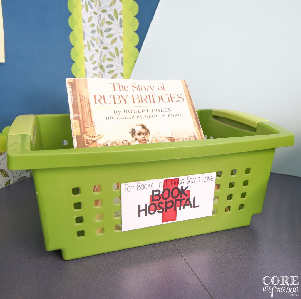 Classroom library book hospital bin. Where damaged books get placed.