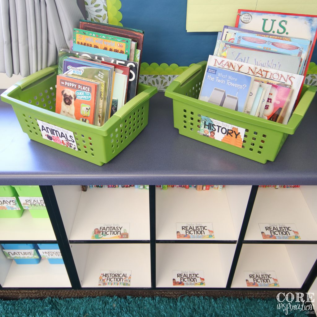 Bins and shelves in elementary classroom library.