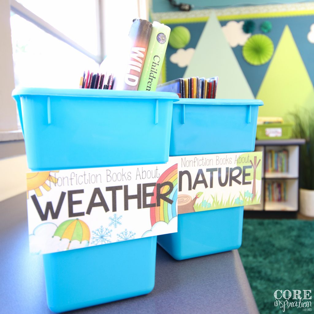 Really Good Stuff magazine bins used for classroom library picture book storage.
