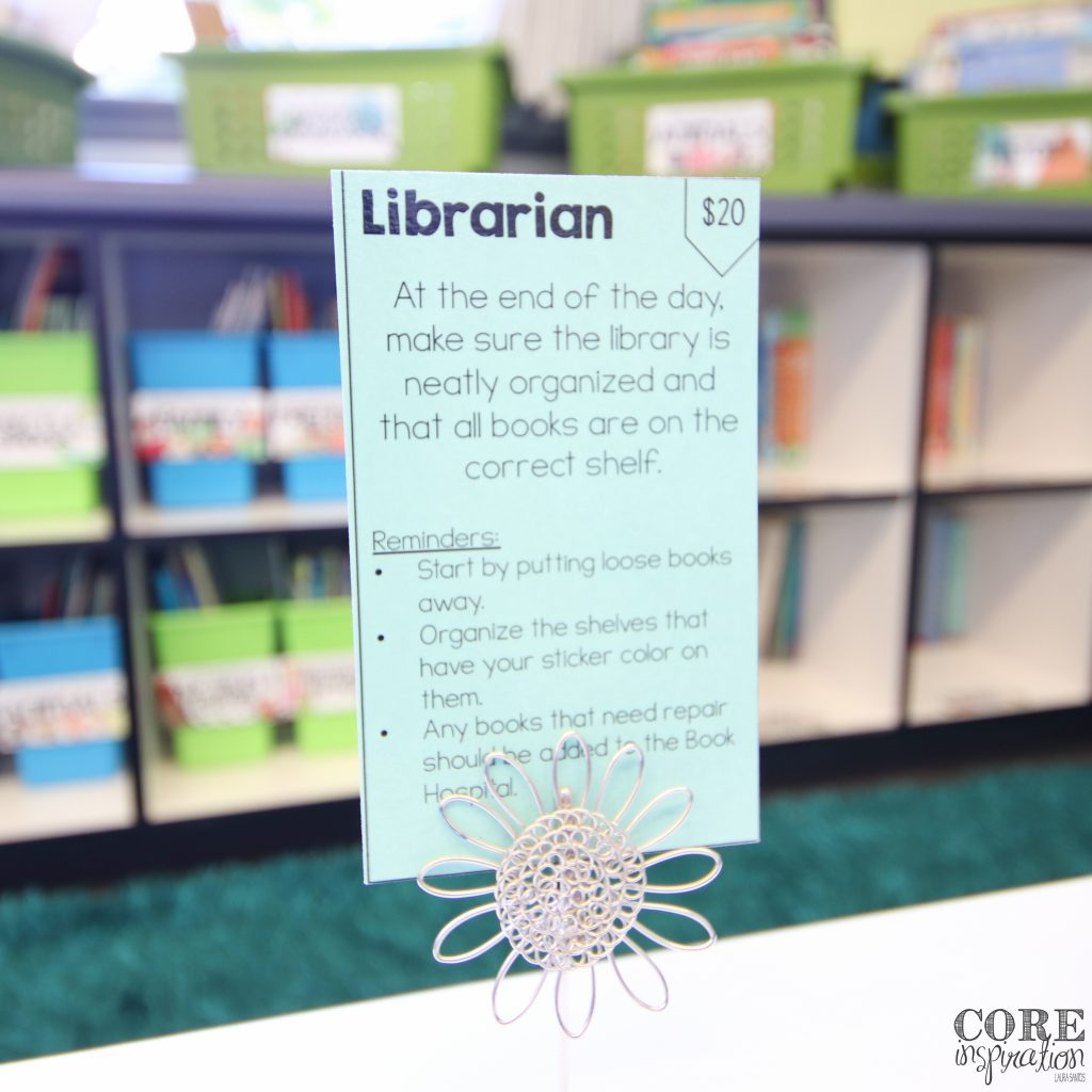 Classroom librarian job cards for class jobs.