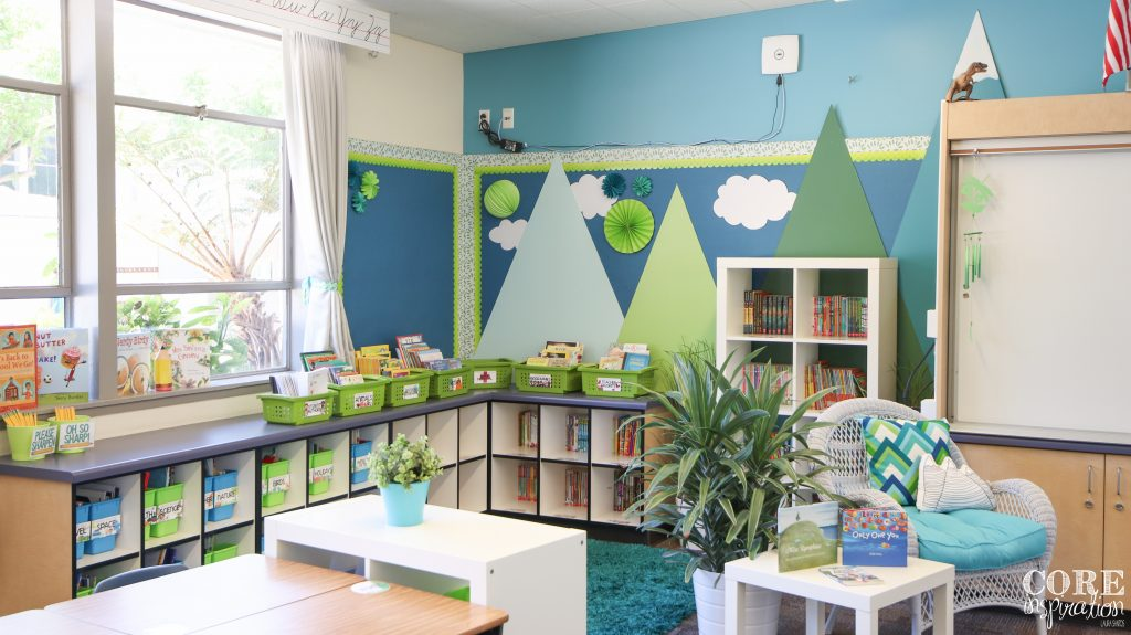 Wide angle shot of elementary classroom library - open, airy classroom freel with plenty of room for children's books.