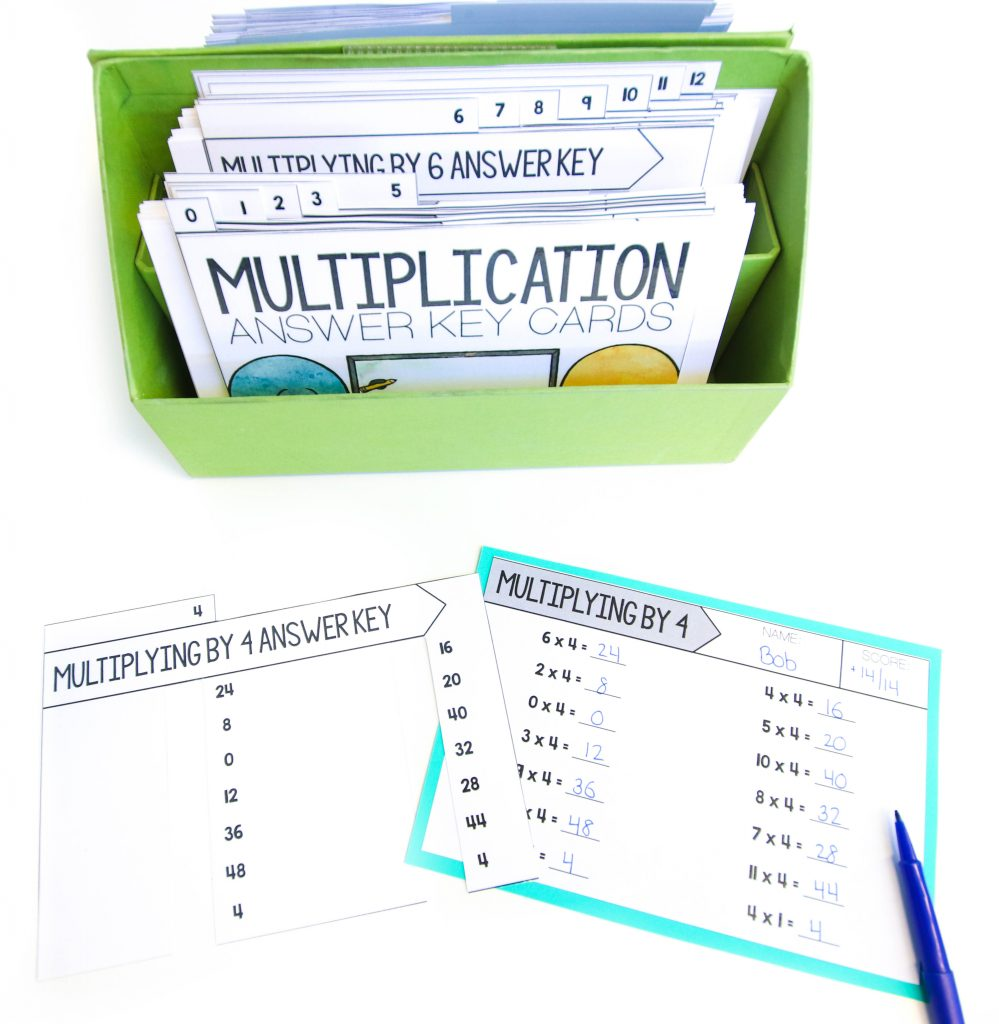 Core Inspiration multiplication fact fluency quizzes with easy-to-use answer keys that cut down on grading time