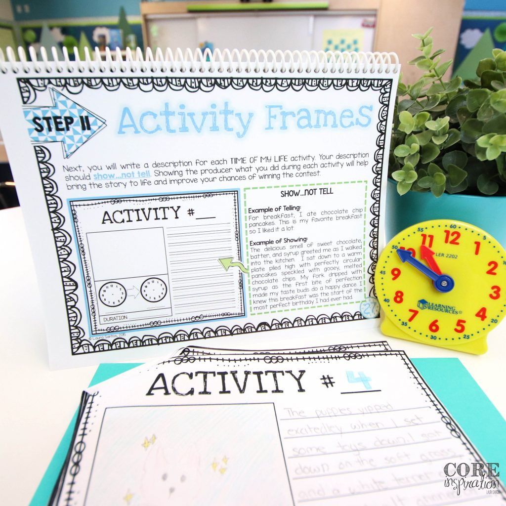 Core Inspiration project based learning student guide for telling time unit next to clock manipulative and student project pages.