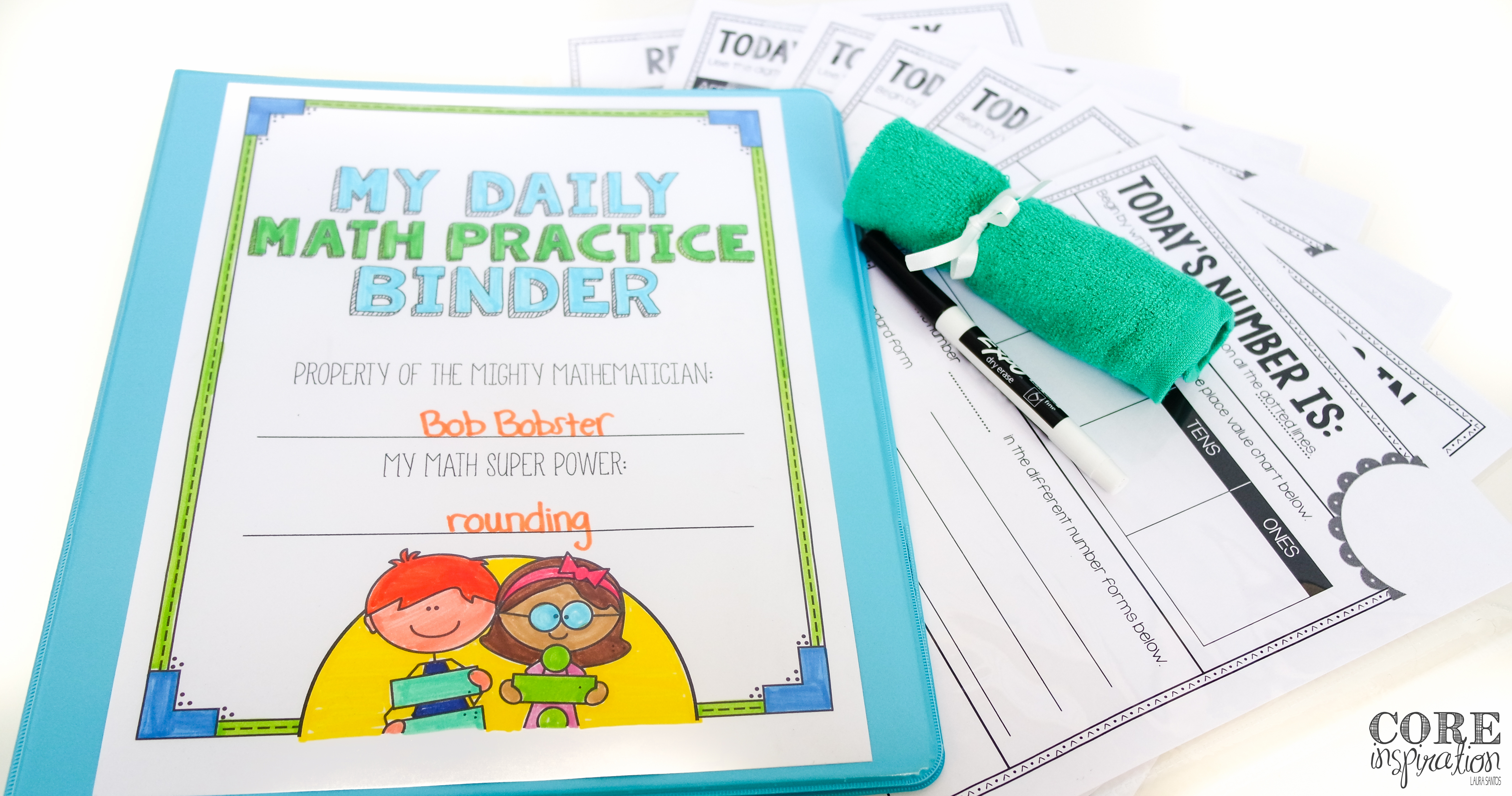 To get started with using a number of the day binder in your classroom, gather sheet protectors, white board markers, washcloths or erasers, and a binder for each student.