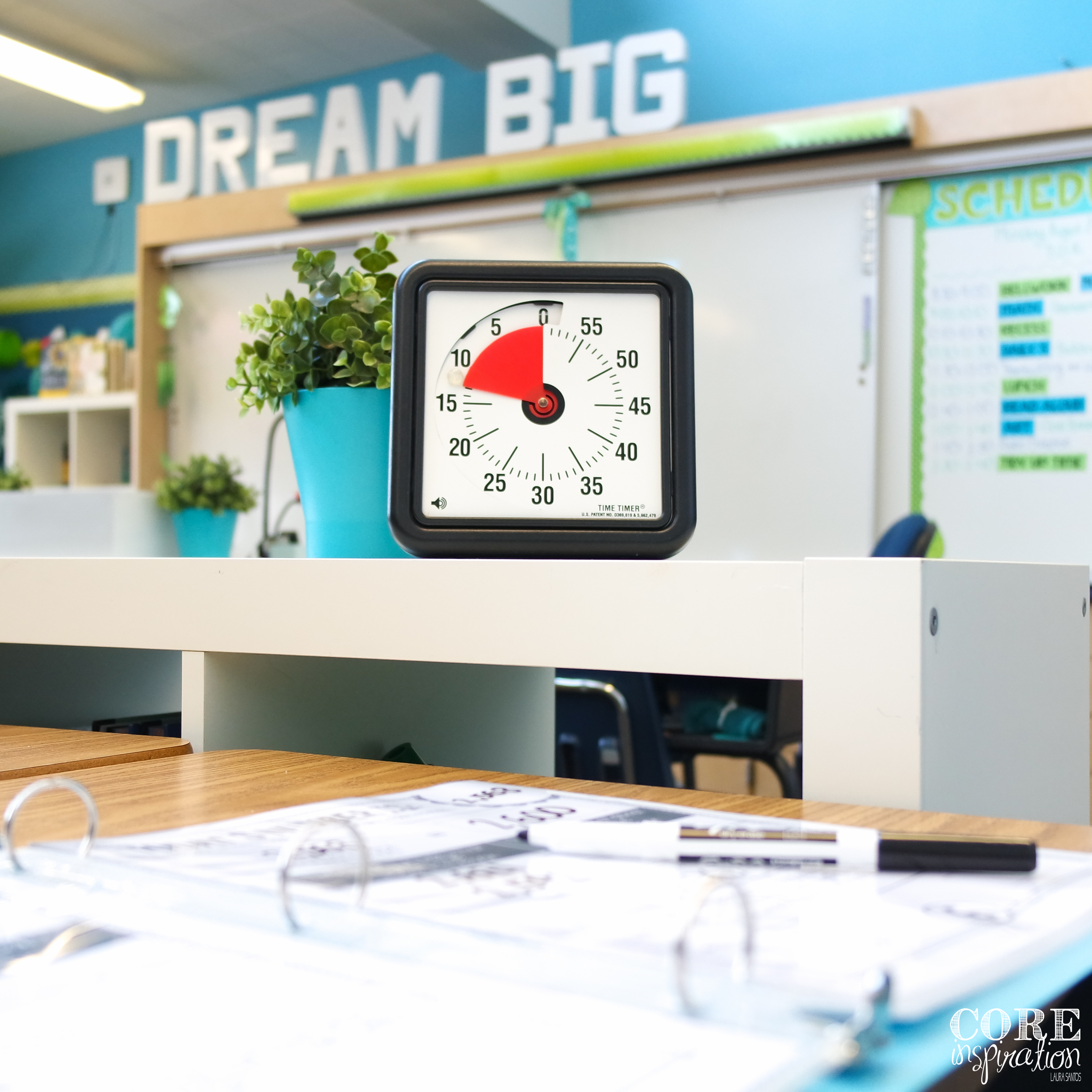 Set a timer to help student pace themselves when working on their number of the day morning routine.