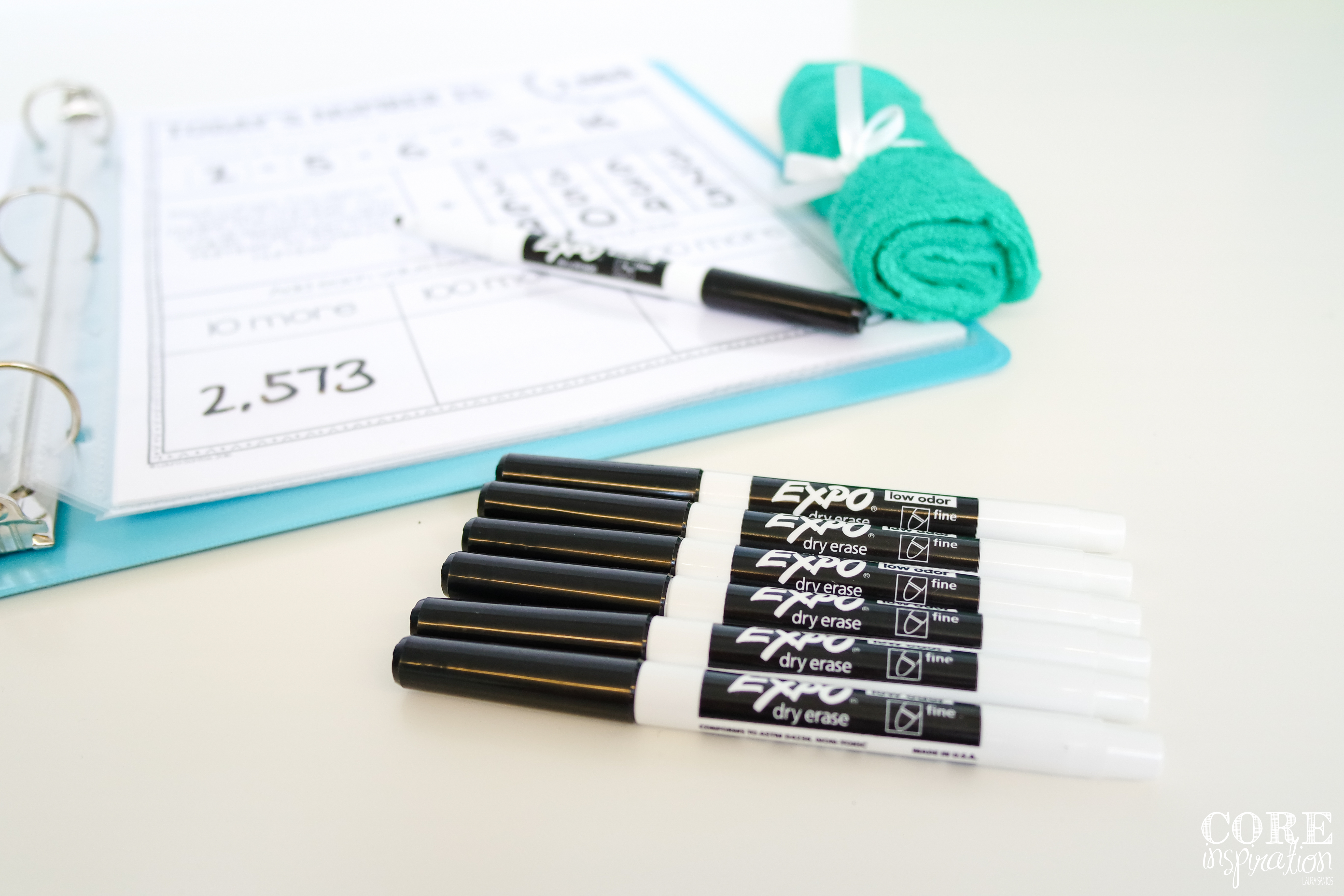 Using thin tip expo whiteboard markers makes it easy for students to record and erase the answers in their reusable binder.