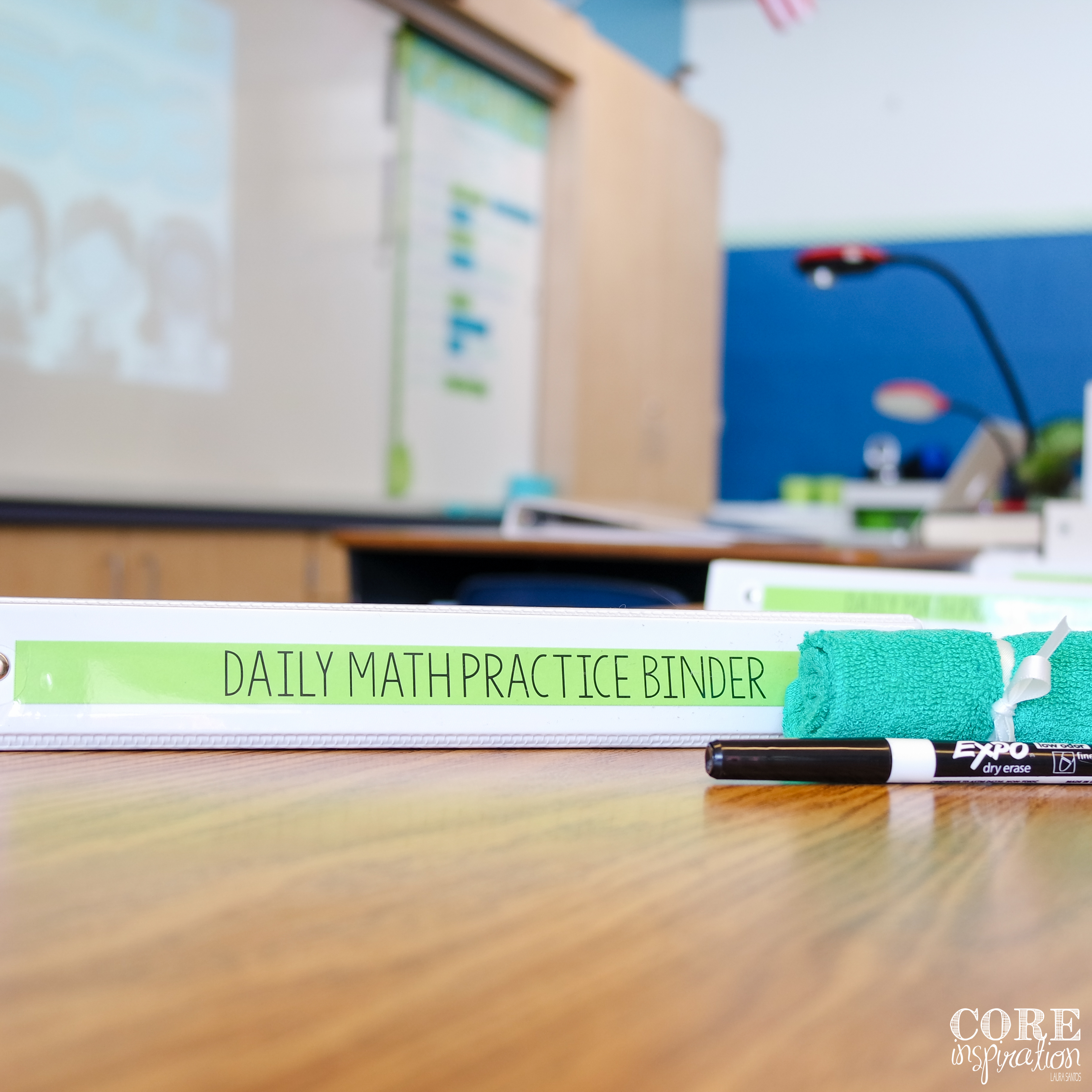 Number of the day binder supplies on student desk