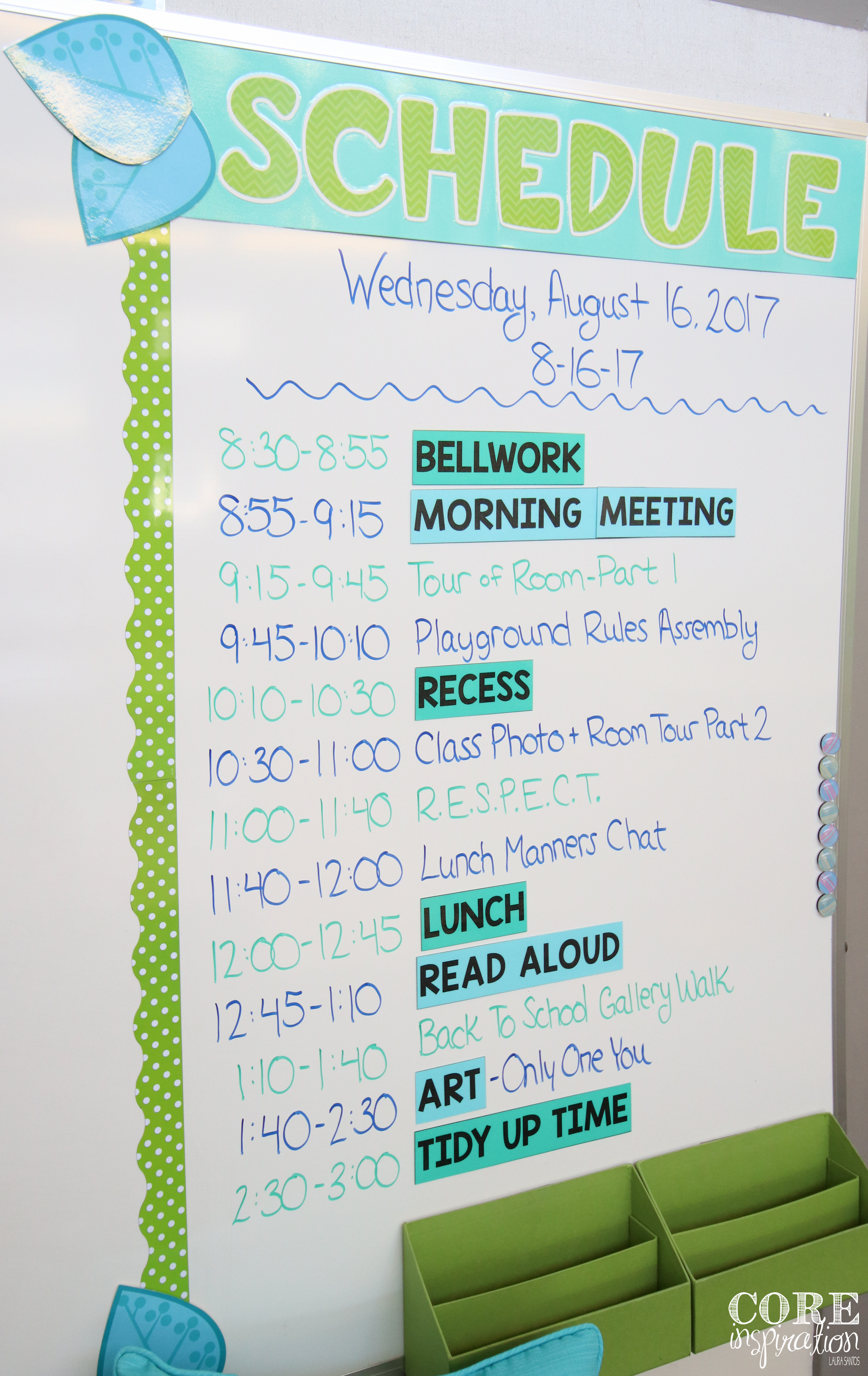 Consistent schedule displayed on classroom board.
