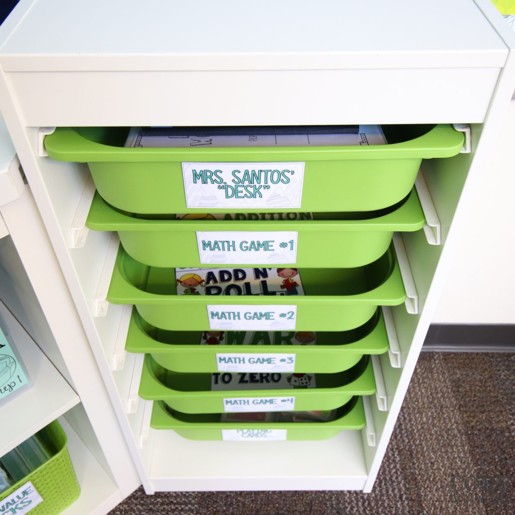 Trofast drawers are the perfect place to share math games.