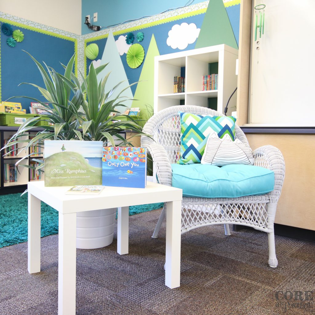 Classroom library and read aloud chair
