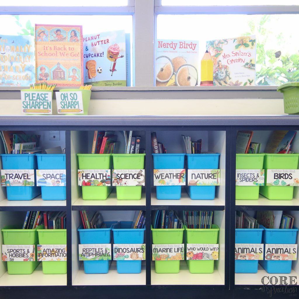 Really Good Stuff book and magazine bins are perfect for storing picture books in your classroom library