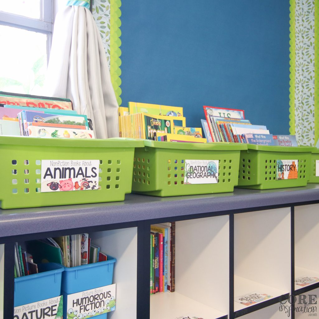 Target RE bins with Core Inspiration colorful image-rich classroom library labels