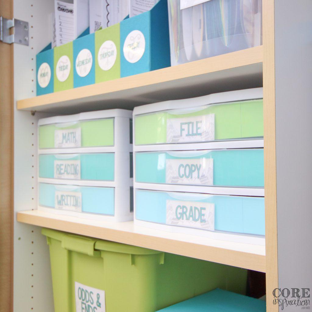 Teacher classroom cabinet organization