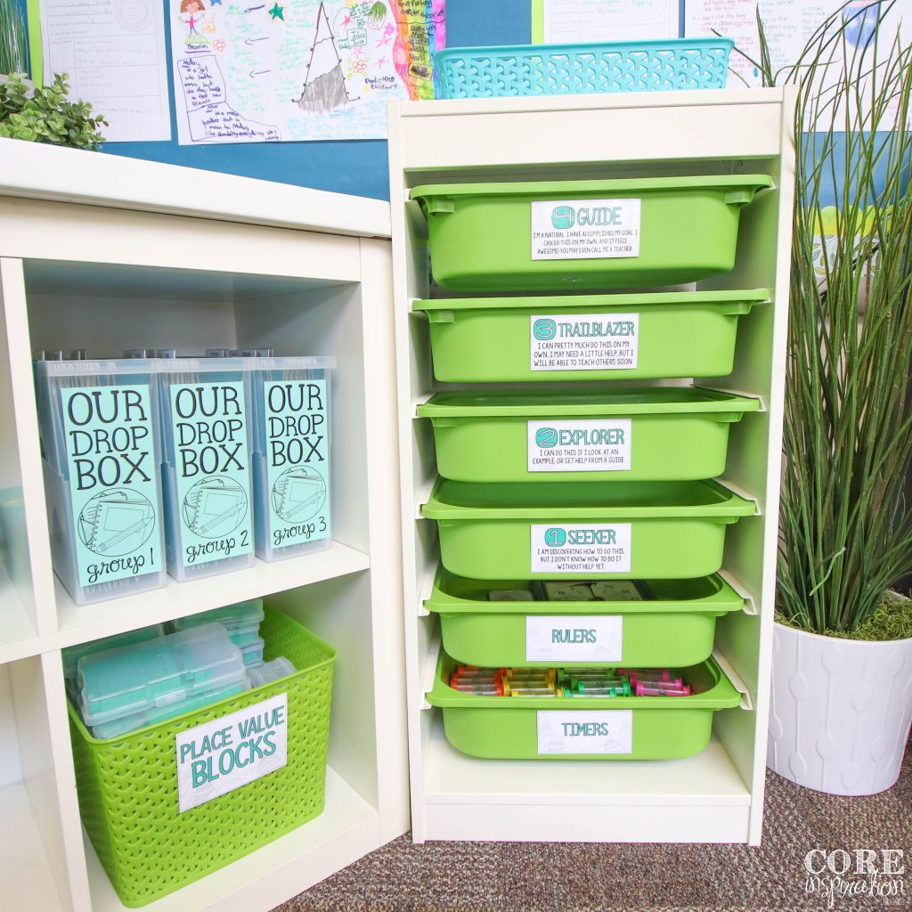 Green rubric drawers. A set of drawers in the elementary classroom where students submit their work and simultaneously self-reflect on their performance. Drawers have levels 1-4 along with rubric descriptions written by students. Blue bins sitting on top of rubric drawers for students to turn in their favorite task card each week.