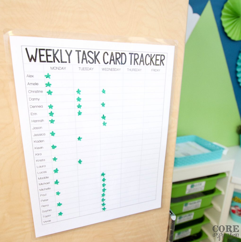 Weekly task card tracking sheet helps students and teachers track how many tasks students have completed. Helps boost student accountability.